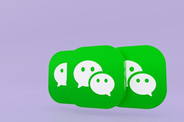 Wechat applicatie logo 3d-rendering op paarse achtergrond