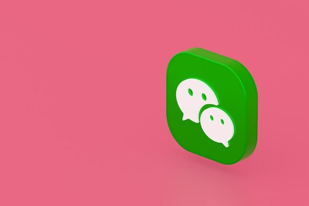 Wechat applicatie logo 3d-rendering op roze achtergrond