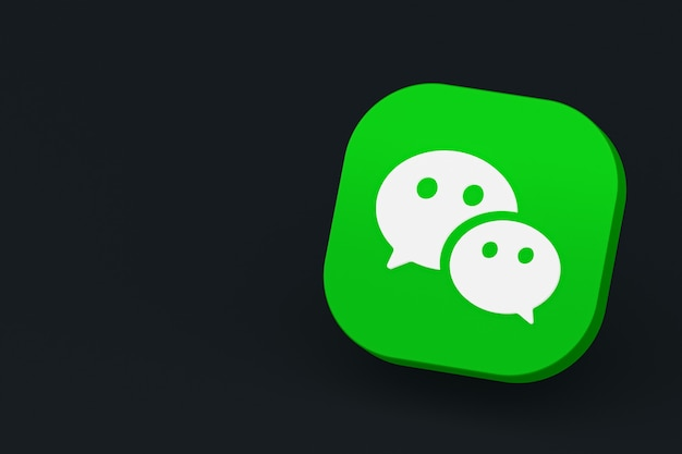 Wechat applicatie logo 3d-rendering op zwarte achtergrond