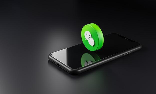 Wechat-embleempictogram over smartphone, 3d-rendering