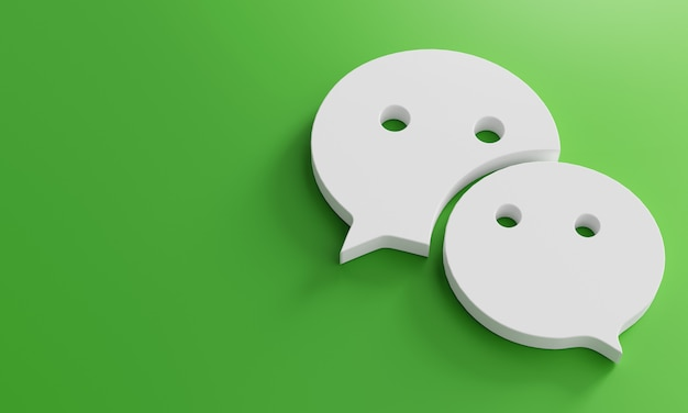 Wechat logo minimal simple design template. kopieer space 3d