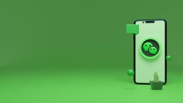 Wechat-logo op het iphone-scherm 3d-rendering