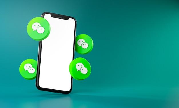 Wechat-pictogrammen rond 3d-rendering van de smartphone-app