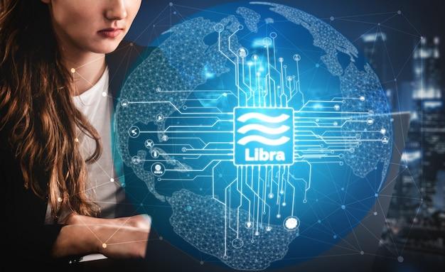 Weegschaal cryptocurrency-munt in digitale geldeconomie