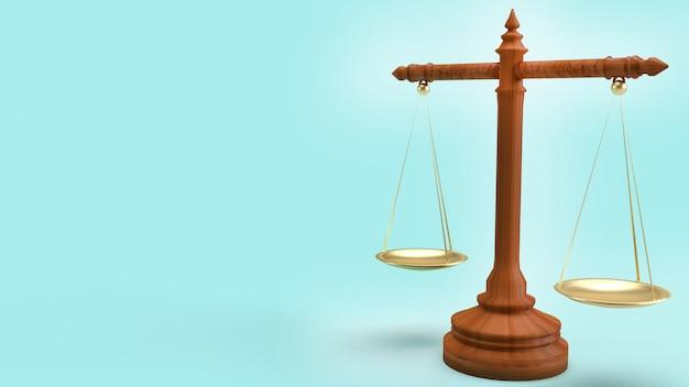 Weegschaalwet op het blauwe 3d teruggeven als achtergrond voor wetsinhoud.