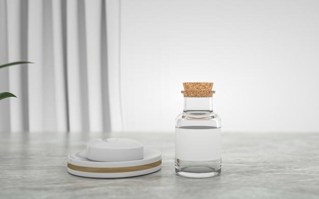Weergave van abstracte geometrische vorm met transparante fles voor weergave