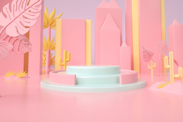 Weergave van abstracte roze achtergrond met podium voor producttribune