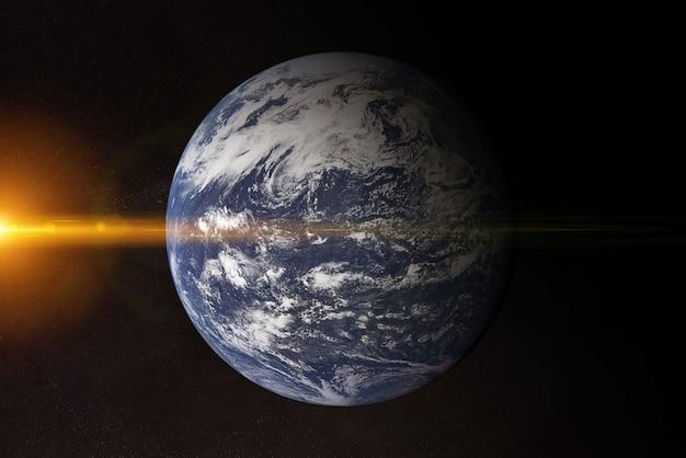 Weergave van blauwe planeet aarde atlantische oceaan in de ruimte met haar atmosfeer 3d-rendering elementen