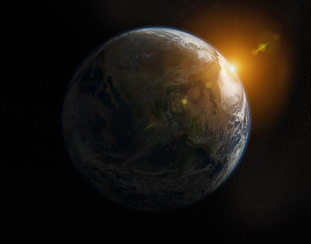 Weergave van blauwe planeet aarde op amerika tijdens een zonsopgang