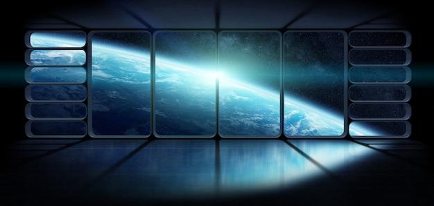 Weergave van de aarde vanuit een groot ruimteschip venster 3d-rendering elementen van deze afbeelding geleverd door nasa