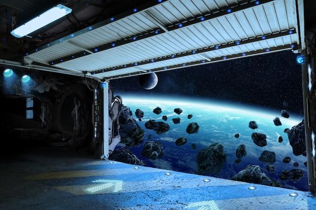 Weergave van de planeet aarde vanaf een pendelbaan