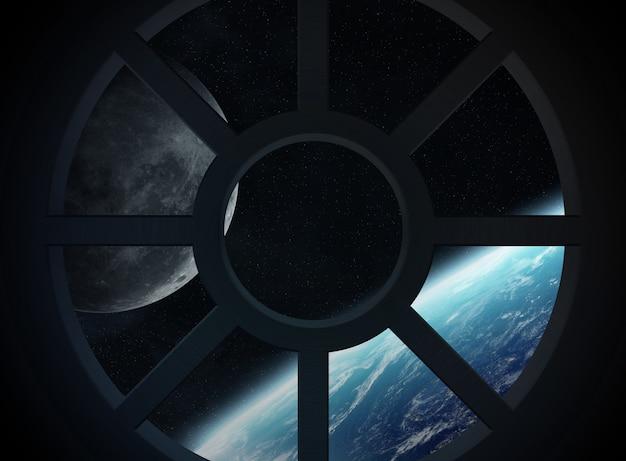 Weergave van de planeet aarde vanuit een ruimteschip cabine