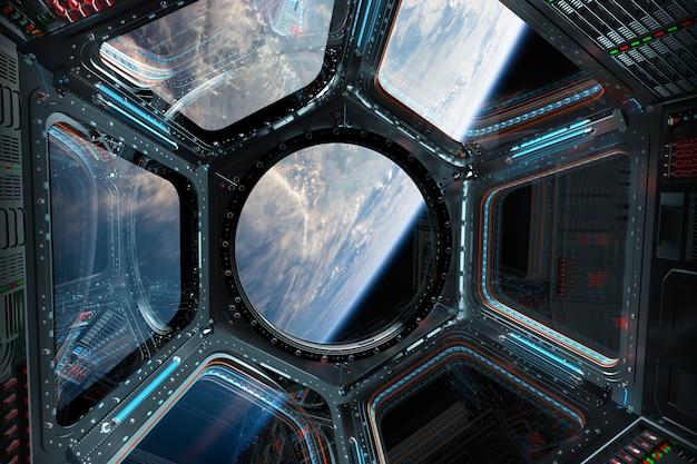 Weergave van de planeet aarde vanuit een ruimtestation venster 3d-rendering