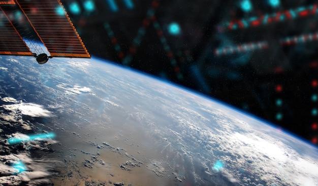 Weergave van de planeet aarde vanuit een ruimtestation venster tijdens een zonsopgang elementen van deze afbeelding geleverd door nasa