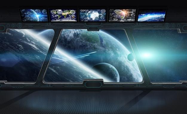 Weergave van de ruimte vanuit het raam van een 3d-weergave van een ruimtestation
