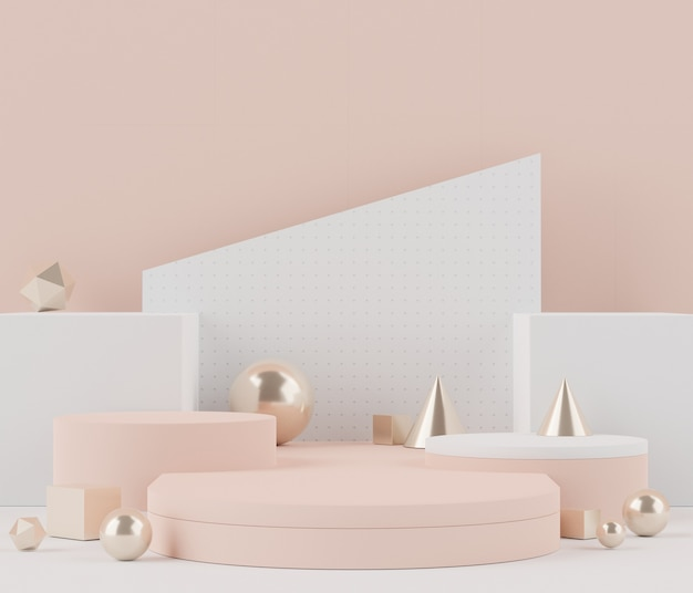 Weergave van een realistisch modern minimalistisch podium