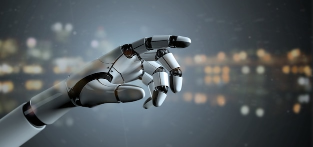 Weergave van een robot hand cyborg