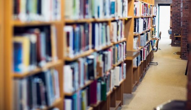 Weergave van een smalle gang langs boekenplanken in de universiteitsbibliotheek