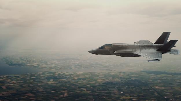 Weergave van een straaljager boven de wolken