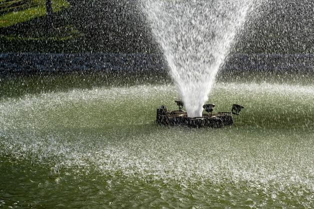 Weergave van een waterfontein sproeien van water in een vijver