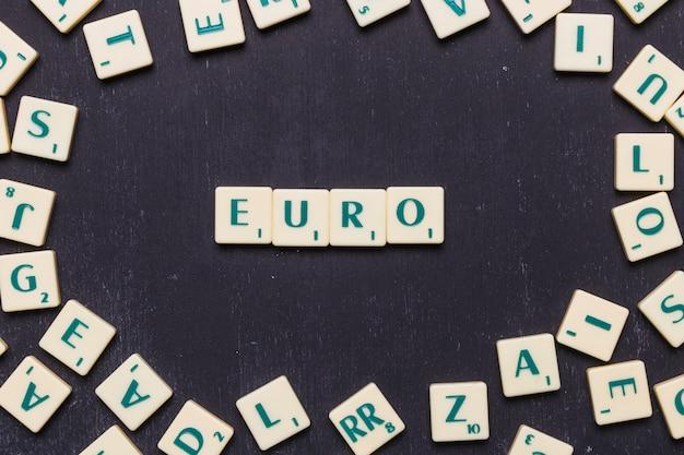 Weergave van euro scrabble letters van bovenaf