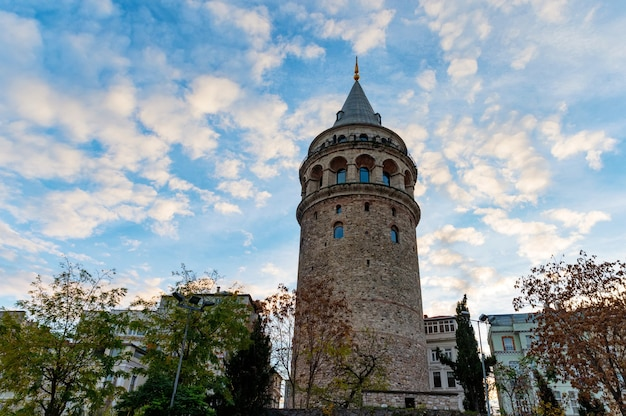 Weergave van galata-toren van onderaf omringd door klassieke gebouwen tegen blauwe hemel