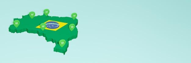 Weergave van gebruik en distributie van sociale media op facebook in brazilië voor infographics