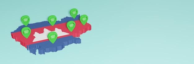 Weergave van gebruik en distributie van sociale media op facebook in cambodja voor infographics