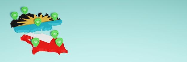 Weergave van gebruik en distributie van sociale media op facebook in de antiqua en barbuda voor infographics