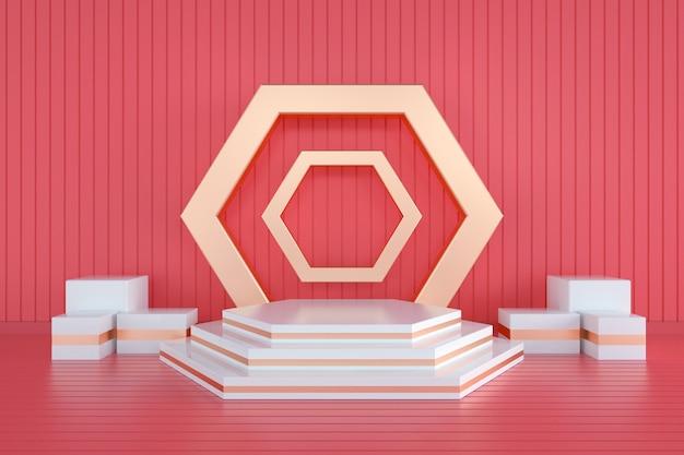 Weergave van geometrisch zeshoekig voetstuk met rood voor productstandaard