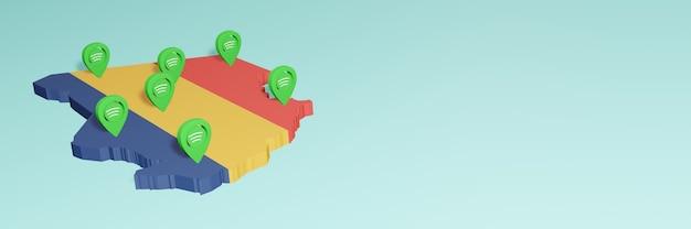Weergave van het gebruik en de distributie van facebook-sociale media in tsjaad voor infographics