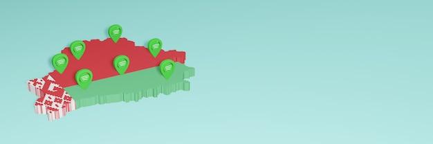 Weergave van het gebruik en de distributie van facebook-sociale media in wit-rusland voor infographics