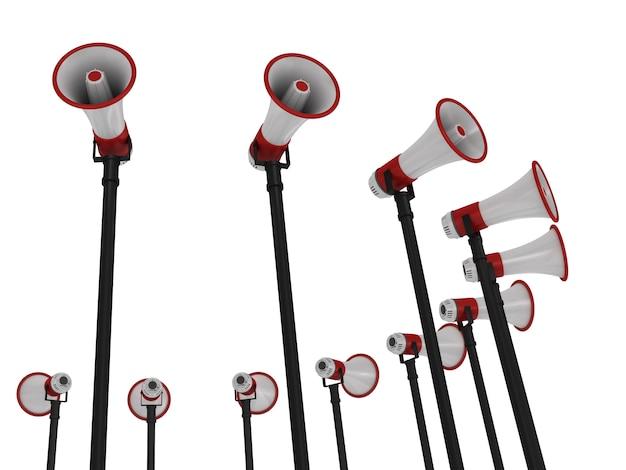 Weergave van megafoons