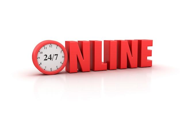 Weergave van online woord met klok weergeven