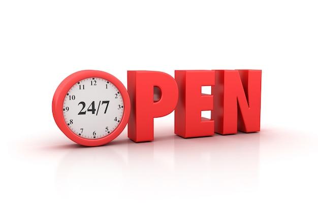 Weergave van open word weergeven met 24/7 klok