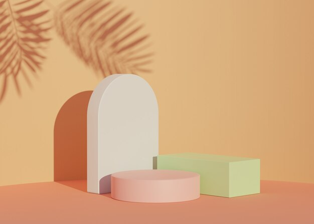 Weergave van realistisch modern minimalistisch podium met schaduw van palmbladeren voor product
