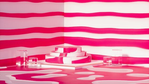 Weergave van rode strepen achtergrond met leeg rond podium voor standproduct