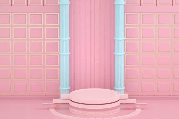 Weergave van roze podiumproduct weergeven lege achtergrond met bord