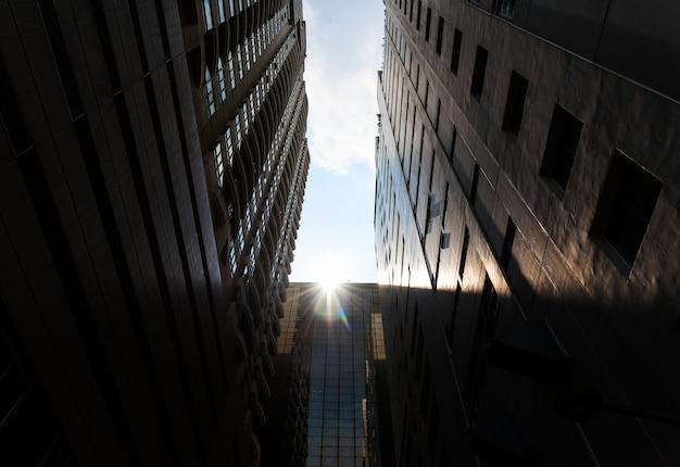 Weergave van skyscraphers in een stad