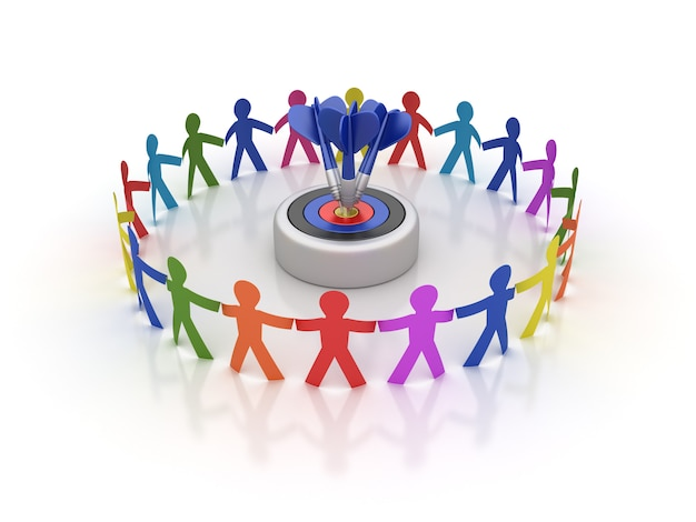 Weergave van teamwerk pictogram mensen met doelgroep en darten