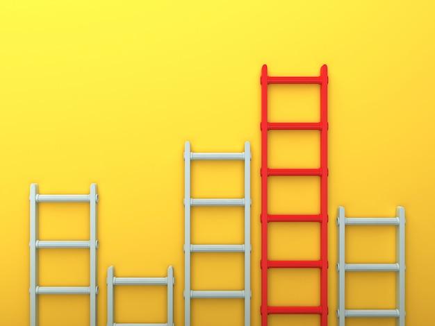 Weergave van trappen op gele muur