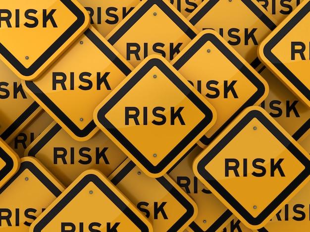 Weergave van verkeersbord met risk word
