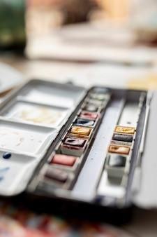 Weergave van wazig aquarel palet