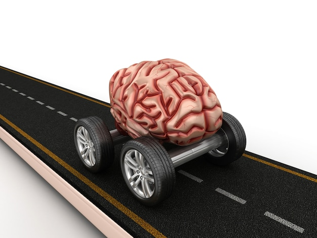 Weergave van weg met hersenen op wielen