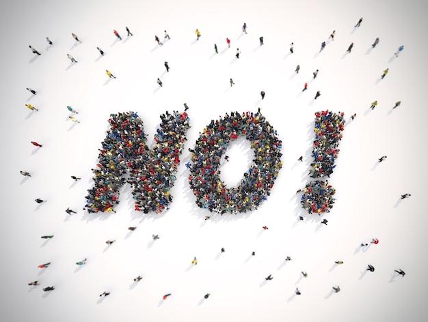 Weergaven van een menigte mensen die verenigd zijn en het woord nee vormen