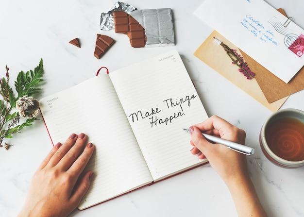 Wees moedig aanmoediging tijd om te handelen motivatie aspiraties concept