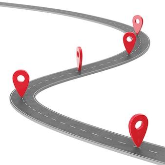 Weg infographic met pin-aanwijzer. navigatieconcept met speldwijzer. de aanwijzer van de kaartmarkering op wegenkaart. cartografie-mapping. straat wegenkaart voor zakelijke infographics ontwerp, 3d-rendering