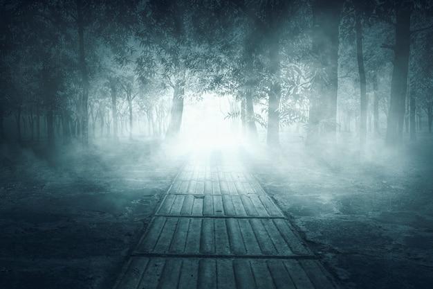 Weg met bomen en dikke mistachtergrond