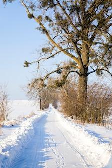 Weg met sporen van transportwielen in de sneeuw, winter op straat