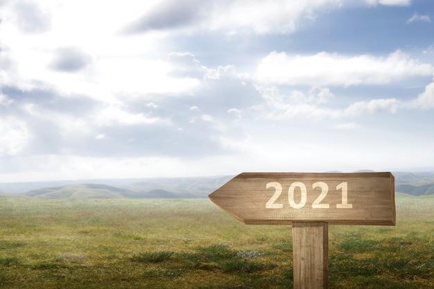Weg naar 2021. gelukkig nieuwjaar 2021